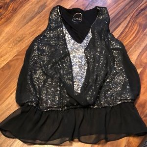 Sequin tank top with sheer overlay